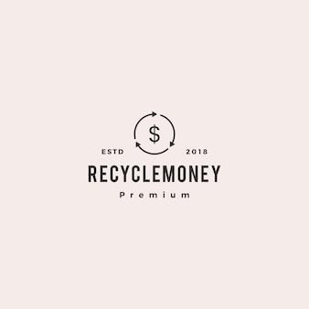 Przepływ środków pieniężnych recyklingu logo wektor ikona ilustracja
