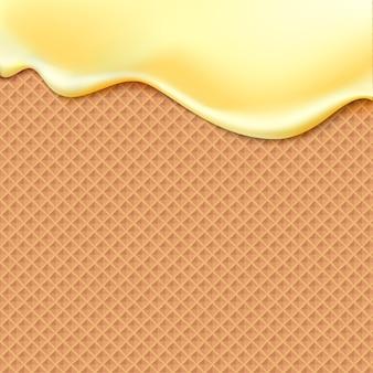 Przepływająca żółta glazura na tekstury wafla abstrakcyjna tła słodkiej żywności. rozpuść lody oblodzone na wzór wafla. edytowalne - łatwa zmiana kolorów.