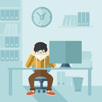 Przepracowany biznesmen jest w stresie.