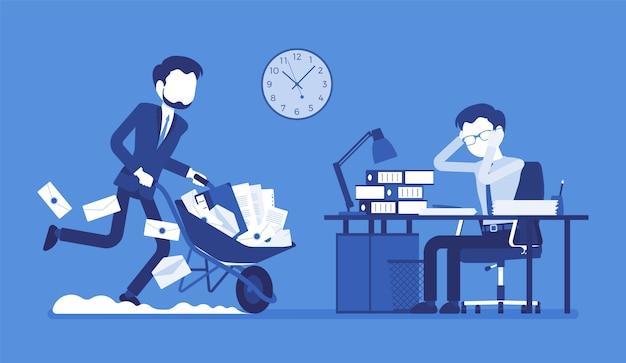 Przepracowany w biurze. młody robotnik przy biurku wyczerpany zbyt dużą ilością papierkowej roboty, jego kolega pchający koło pełne dokumentów, teczek i listów. ilustracja kreskówka styl