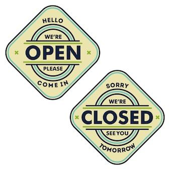 Przepraszam jesteśmy zamknięci i cześć, jesteśmy znakiem otwartych drzwi