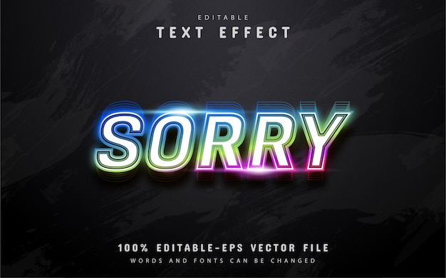 Przepraszam tekst, kolorowy efekt tekstowy w stylu neonu