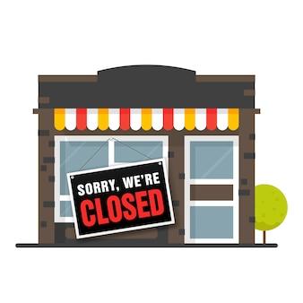 Przepraszamy, jesteśmy zamknięci znak. sklep lub kawiarnia jest w stanie upadłości i zamknięta.