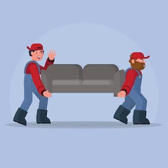 Przeprowadza człowieka niosącego fotel