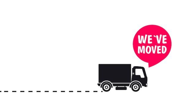 Przeprowadziliśmy się. wskaźnik lokalizacji na mapie. przeprowadziliśmy się. ciężarówka z dymkiem i znakiem lokalizacji. zmieniono nawigację po adresach. koncepcja znaku terenu lokalizatora, takiego jak dostawa e-commerce lub etykieta transferowa