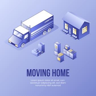 Przeprowadzka do domu. koncepcja cyfrowego projektowania izometrycznego