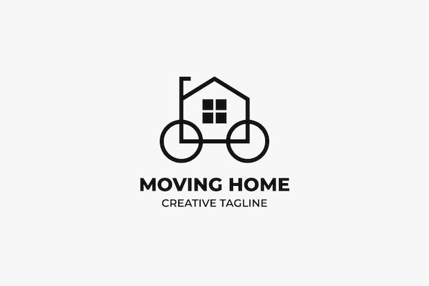 Przeprowadzka do domu nieruchomości minimalistyczne logo