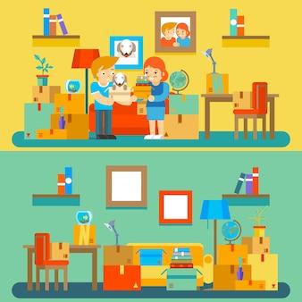 Przeprowadzka do nowego mieszkania. zmiana i zakup mieszkania. nieruchomości i pudełko, pies i wnętrze