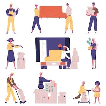 Przeprowadzka osób relokacyjnych. przeniesienie znaków usługi dostawy, ludzie przewożący meble i kartony wektor zestaw ilustracji. przeprowadzka nowego domu