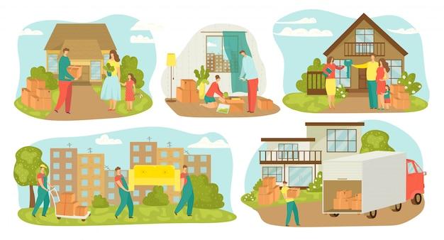 Przeprowadzka osób, zestaw ilustracji do przeprowadzki nowego domu. przeprowadzki rodzinne ze skrzyniami, przenoszeniem mebli, kontenerami. przeprowadzka do nowego domu z transportem samochodowym, sprzedam dom.