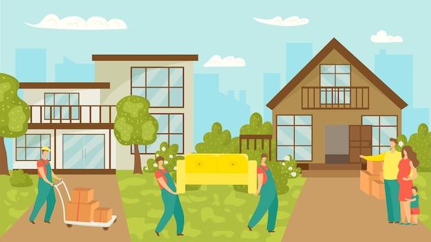 Przeprowadzka rodziny, nowy dom i pracownicy niosący meble, ilustracja kartonów. szczęśliwy ojciec, matka i dziecko przeprowadzają się do wiejskiego domu. ruch nieruchomości.