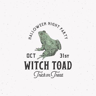 Przerażająca czarownica ropucha szablon etykiety halloween night party z żabą