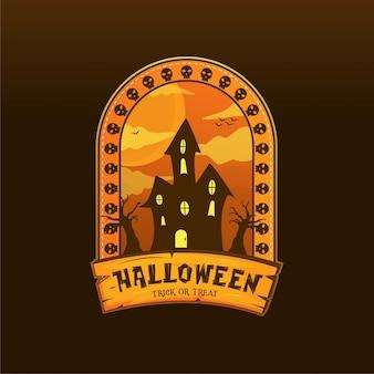 Przerażająca domowa halloweenowa logo ilustracja