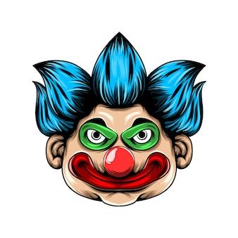 Przerażająca głowa klauna z dużą czerwoną wargą i dużymi oczami