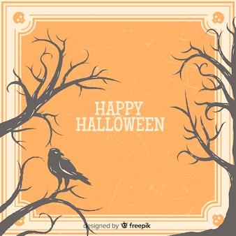 Przerażająca halloween rama z rocznika stylem