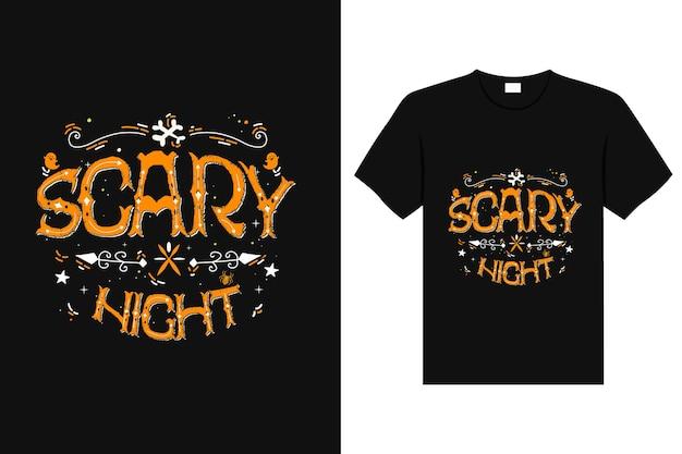 Przerażająca noc szablon projektu koszulki typografia straszna grafika na halloweenowej koszulce