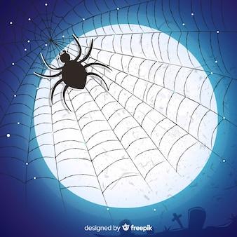 Przerażająca ręka rysujący pajęczyny halloween tło