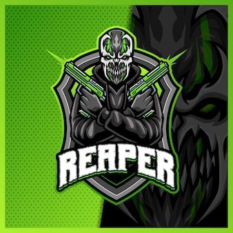 Przerażająca strzelanka potwór maskotka esport szablon projektu logo, rzymski styl kreskówki