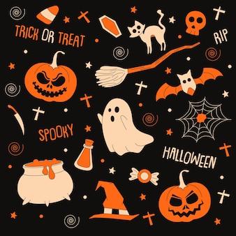 Przerażająca sztuka doodle z elementami o tematyce halloween