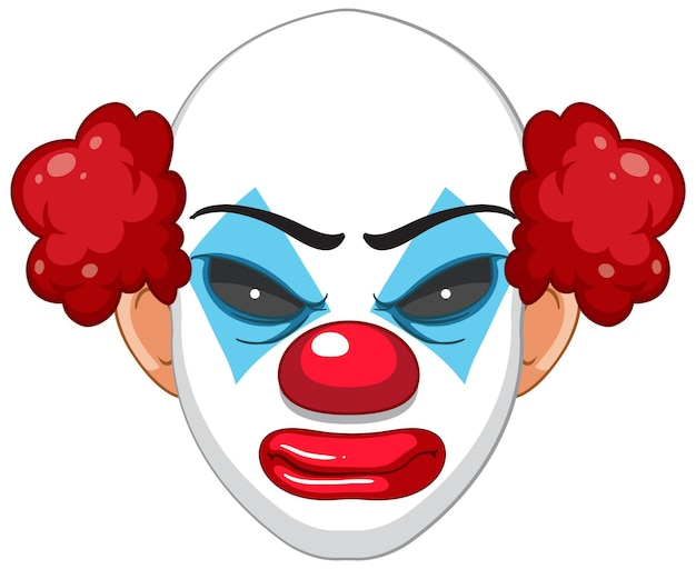 Przerażająca twarz klauna na białym tle