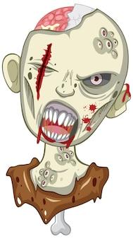 Przerażająca twarz zombie na białym tle