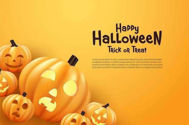 Przerażająca wesoła dynia halloween