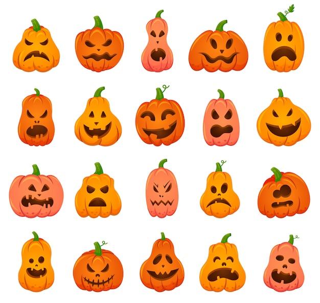 Przerażające dynie na halloween. kreskówka pomarańczowa dynia tradycyjna dekoracja świąteczna, przerażająca, straszna twarz dynie zestaw ikon ilustracji. uśmiech straszna dynia halloween
