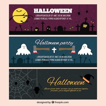 Przerażające halloween banery