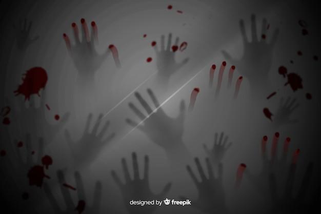 Przerażające ręce realistyczne tło halloween