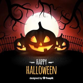 Przerażające tło halloween z realistycznym wystrojem