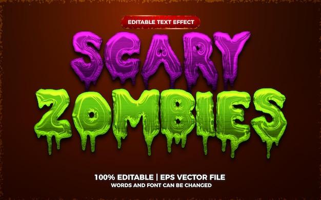 Przerażające zombie 3d edytowalny efekt tekstowy