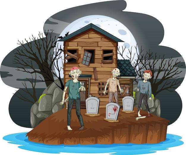 Przerażające zombie na cmentarzu z nawiedzonym domem