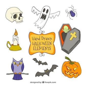 Przerażający duch z innymi elementami halloween