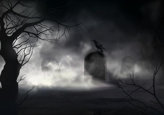 Przerażający halloweenowy realistyczny tło