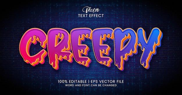 Przerażający tekst, kolorowy edytowalny szablon stylu efektu tekstowego