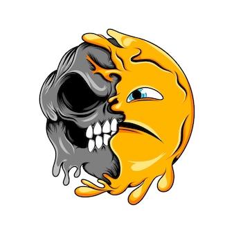 Przerażający wyraz twarzy do przerażającego emotikonu ciemnej czaszki