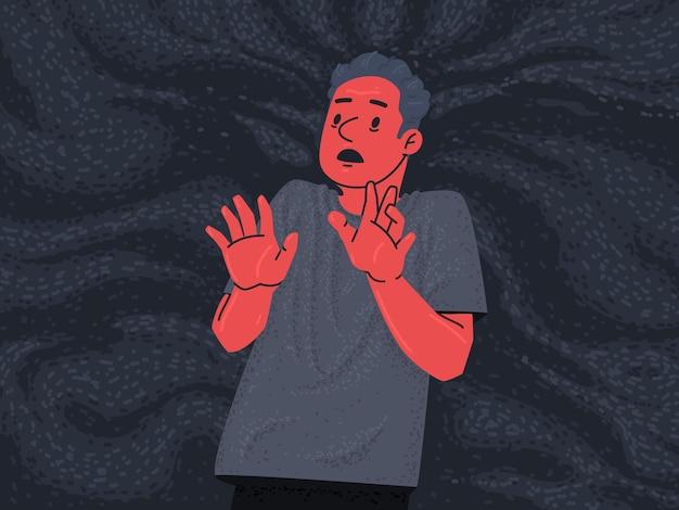 Przerażony mężczyzna w kałuży strachu. fobie i zaburzenia psychiczne. ilustracja wektorowa w stylu płaski