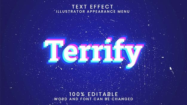 Przerażony szablon stylu edytowalnego efektu tekstu