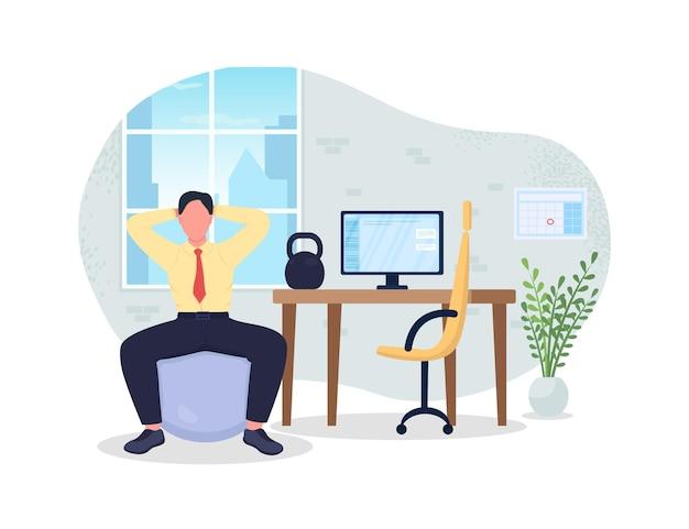 Przerwa na ćwiczenia na ilustracji w miejscu pracy