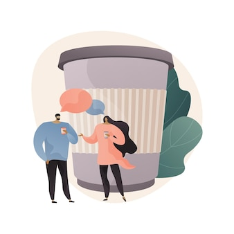 Przerwa na kawę streszczenie ilustracja w stylu płaski