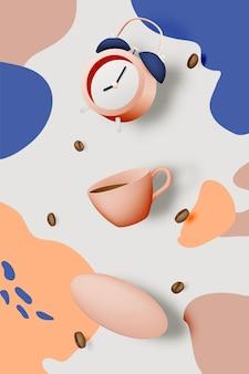 Przerwa na kawę tło z filiżanką kawy i budzikiem i pastelową kolorystyką