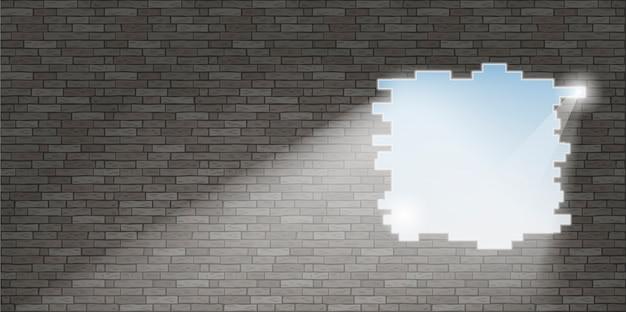 Przerwa w ścianie z cegły