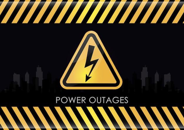Przerwa w zasilaniu z trójkątną ikoną energii elektrycznej w kolorze żółtym i czarnym