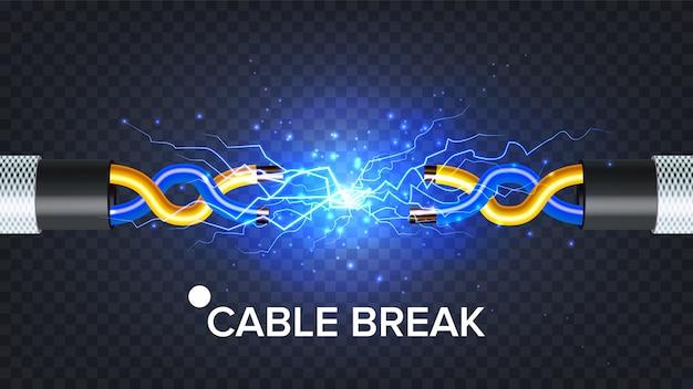 Przerwany kabel elektryczny