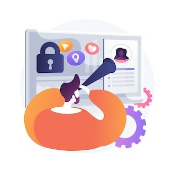 Prześladowanie w mediach społecznościowych. inwazja w prywatność online. cyberstalking, śledzenie, geotagowanie. facet z lornetką patrząc na profil społeczny dziewczyn.