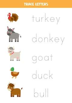 Prześledź imiona uroczych zwierząt gospodarskich z kreskówek. ćwiczenia pisma ręcznego dla dzieci w wieku przedszkolnym.