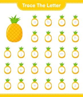 Prześledź list. śledzenie listu z ananasem. gra edukacyjna dla dzieci, arkusz do druku