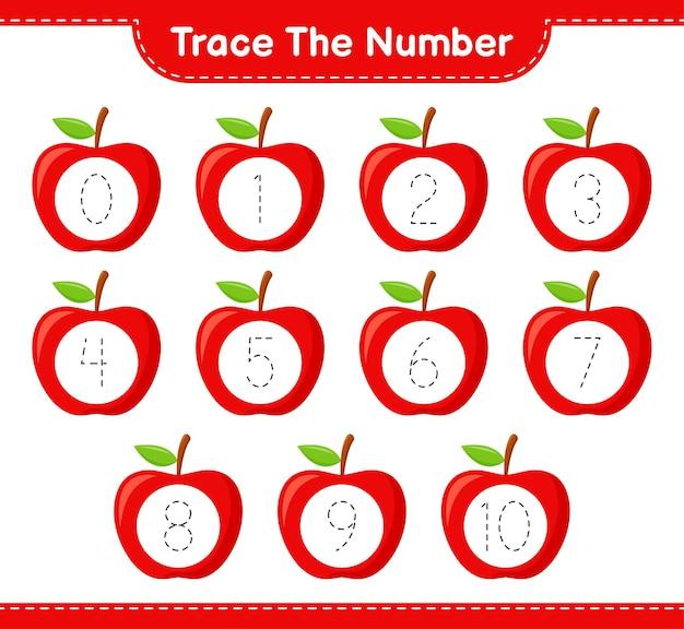 Prześledź numer. numer śledzenia w apple. gra edukacyjna dla dzieci, arkusz do druku