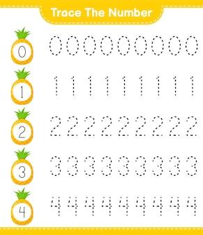 Prześledź numer. numer śledzenia z ananasem. gra edukacyjna dla dzieci, arkusz do druku