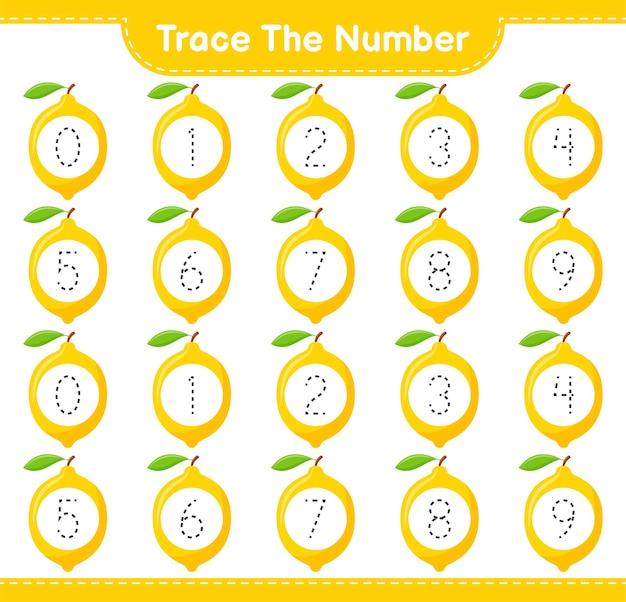 Prześledź numer. numer śledzenia z cytryną. gra edukacyjna dla dzieci, arkusz do druku